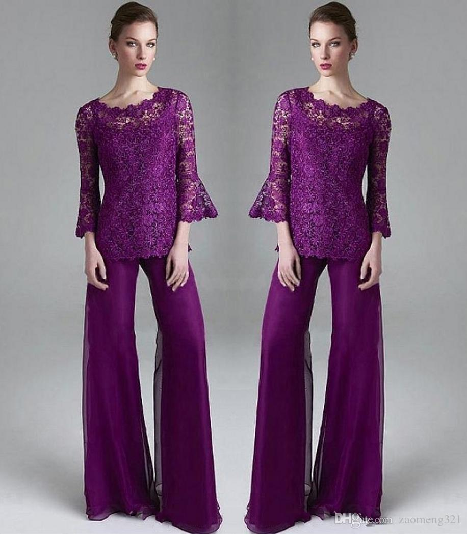 Purple Lace Mother Of The Bride Pant Suits Sheer Jewel Neck Long Sleeves Wedding Guest Dress Plus Size Chiffon Mothers Evening Dresses