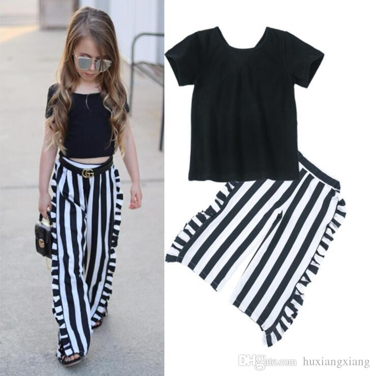 9573340a7c3a2 Hot Fashion Style Children S Wear Suits Short Sleeve And Stripe Pant  Leisure Clothing Baby Girls Kid S Spring Wholesale Price S19JS035 Baby Girl  White ...