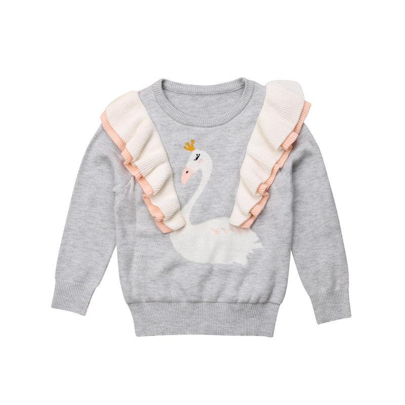 d261bf146 Pudcoco Toddler Kids Baby Girl Knitted Tops Ruffle Cartoon Swan Long Sleeve Sweater  Easy Sweater Knitting Pattern For Kids Sweaters For Boys Knitting ...