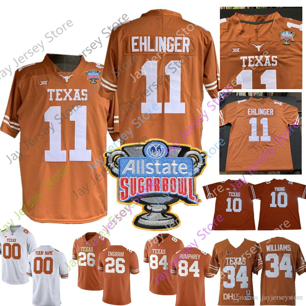 sale retailer 63109 95683 Custom Texas Longhorns Football Jersey Sugar Bowl Vince Young Tre Watson  Devin Duvernay Collin Johnson Sam Ehlinger Keaontay Ingram Humphrey