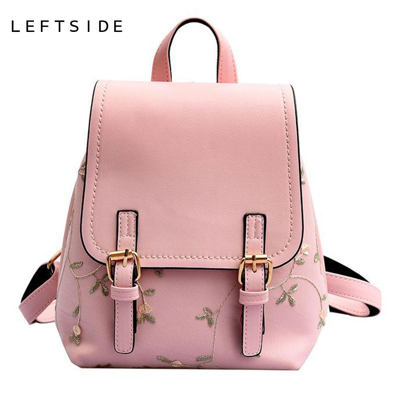 2019 FashionLEFTSIDE Floral Women Leather Backpack Lace Embroidery School  Bag For Teenage Ladies Bagpack Small Backpacks Green Back Pack Best Backpack  ... 15c0f43fa75e8