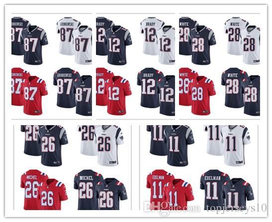 8efdbebcf New England 12 Tom Brady 87 Rob Gronkowski 26 Sony Michel Patriots Vapor  Untouchable Limited Player American Football Jersey Online with   26.35 Piece on ...
