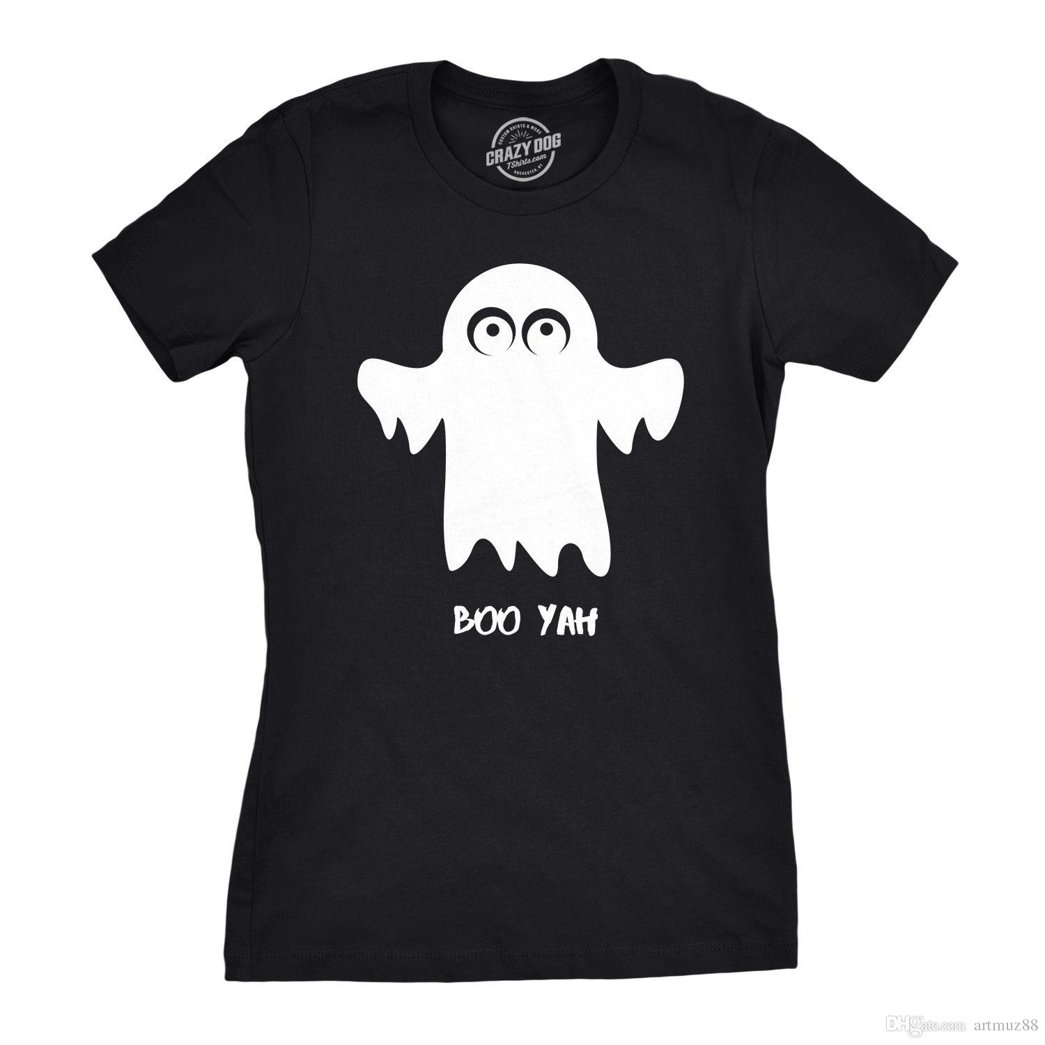 c448dc5d Womens Boo Yah Funny Spooky Cute Halloween Fall Ghost T Shirt Funky T Shirt  Designs T Shirt Awesome From Artmuz88, $10.76| DHgate.Com