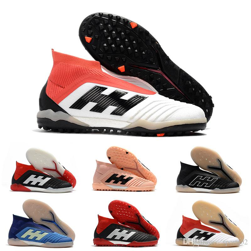 7c22b878f 2019 Mens Leather Soccer Cleats Predator Tango 18+ TF IC High Ankle Football  Boots Indoor Soccer Shoes Cheap Black White Big Order Wholesale