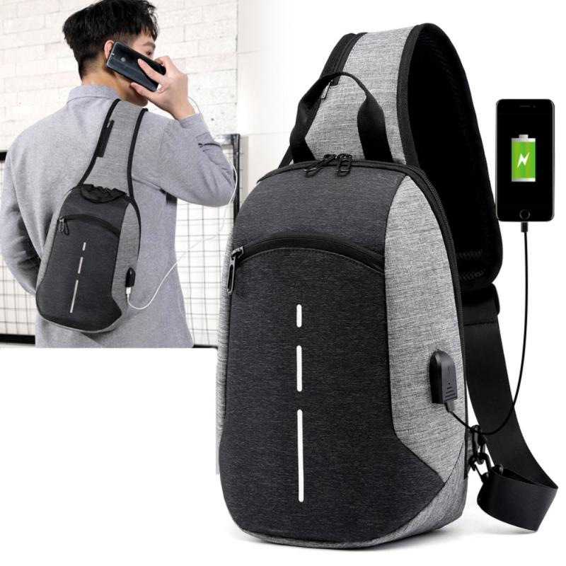 Outdoor Message Bags USB charge Crossbody bag Waterproof Durable Shoulder Bag Men Women Sling chest