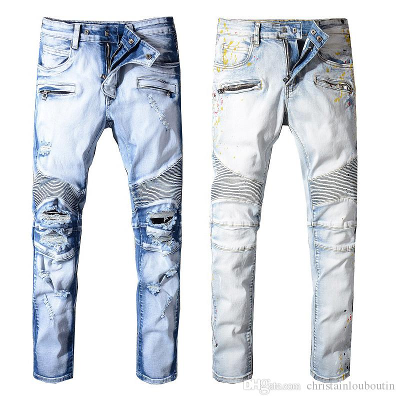 f12c026bc86281 2019 2019 Balmain Fashion New Mens Biker Jeans Motorcycle Slim Fit Washed  Blue Moto Denim Skinny Elastic Pants Joggers For Men Jeans From  Christainlouboutin ...