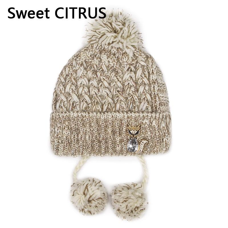 Dulce Citrus Moda Sombreros de lana de punto para mujer Gorros Lentejuelas  de invierno tapa intermitente Skullies pompón Beanie Gorros Señoras ...
