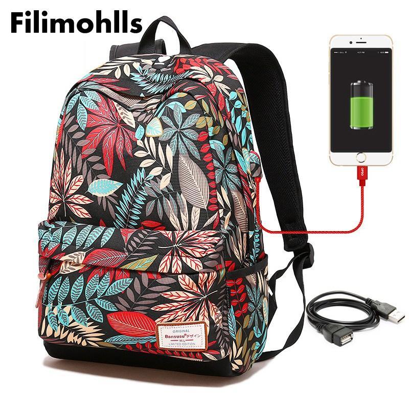 10c19f505 Compre Mulheres USB De Carregamento Mochila Laptop Para Meninas  Adolescentes Mochila Escolar Impressão Mochilas Femininas Para Estudantes  Universitários F ...