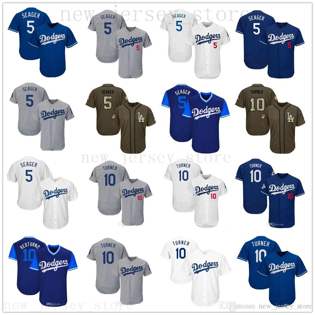 designer fashion eba42 50b09 2019 Men Women Youth Dodgers Jersey 5 Seager 10 Justin Turner Baseball  Jersey White Gray Grey Blue Green Salute to Service Stitched Jerseys