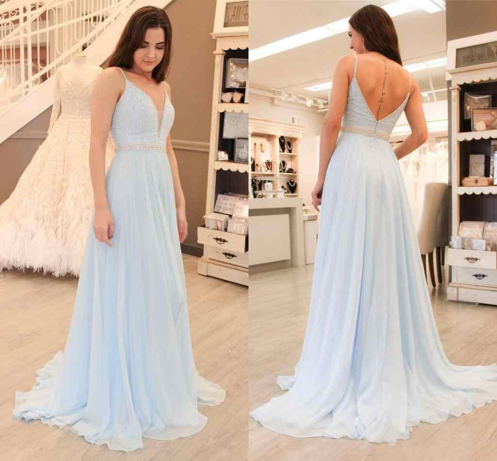 85d26e070d8 2018 Light Sky Blue A Line Prom Dresses Spaghetti Straps Keyhole Backless  Beads Crystal Sash Sweep Train Chiffon Arabic Evening Party Gowns Long  Elegant ...