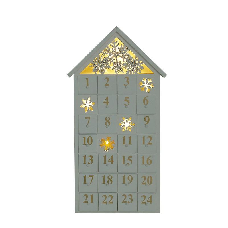 christmas wooden snowflake advent calendar house with LED lighting and design of falling snow with 24 drawers in white colour