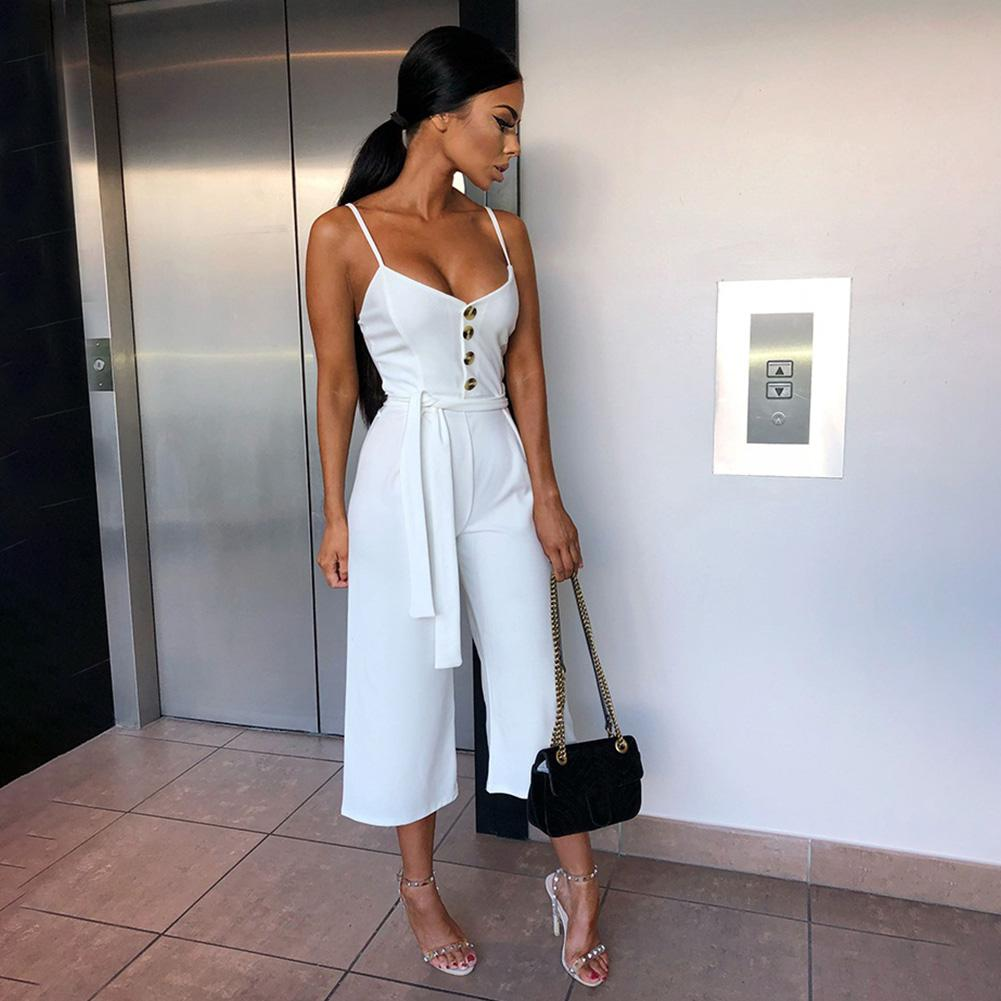 d6b22e9c54d 2019 Sexy Summer Women Jumpsuit Long Pants Decorative Buttons Sling  Suspenders Casual Ladies Trousers Sleeveless Fashion Playsuit From Junxcj