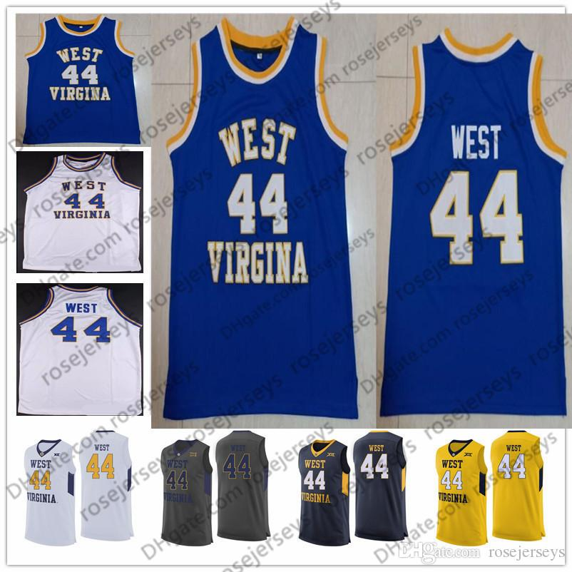 708bcd02cab 2019 NCAA West Virginia Mountaineers  44 West Vintage Jerry Jerseys Retro  WVU College Basketball White Blue Yellow Navy Men Youth Kids S 4XL From ...
