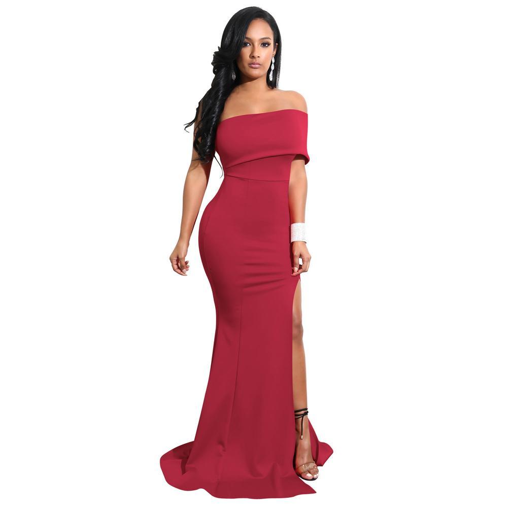 e9a8e21ce Compre 2019 Elegante Mujer Sirena Maxi Vestido Sexy Fuera Del Hombro De  Alta División Vestido Formal Sólido Slim Fit Bodycon Vestidos De Fiesta  Largos A ...