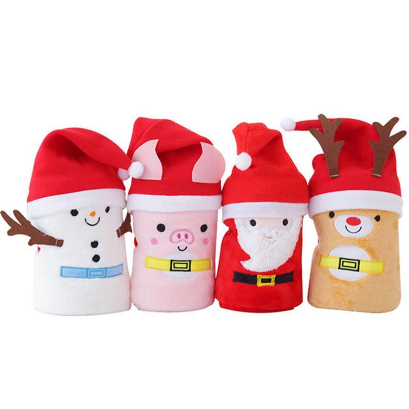 Christmas Snowman Hat and Flannel Blanket Set Super Soft Fluffy Plush Kids Pet Hat Blanket Bed Couch Cover