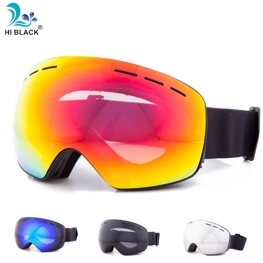 HI BLACK Anti-Fog Ski Goggles Spherical Frameless Ski Snowboard Snow Goggles 100% UV400 Protection Anti-Slip Strap for Men Women