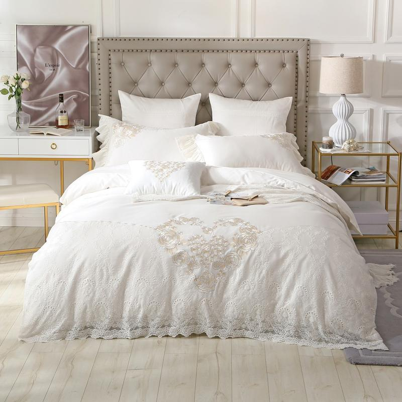 8070e1ba390d Queen King Luxury Bedding Set White Lace Egyptian Cotton Embroidery Wedding Bed  Set Cotton Bed Sheets Duvet Quilt Cover Set Teen Bedding Duvets From ...