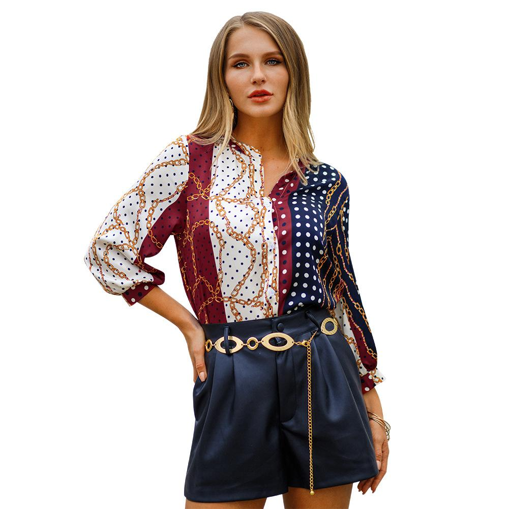Women Brand Summer Boho Print Shirts Button V Neck 3/4 Puff Sleeve Gold Chains Polka Dot Printed Casual Blouse Multi Tops