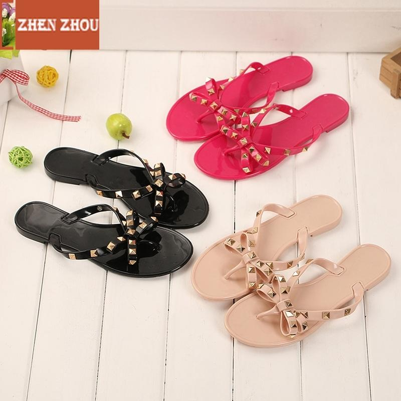 258302aeb 2018 Fashion Women Sandals Flat Jelly Shoes Bow V Flip Flops Stud Beach  Shoes Summer Rivets Slippers Thong Sandals Nude Gold Wedges Red Wedges From  Sunsnoww ...