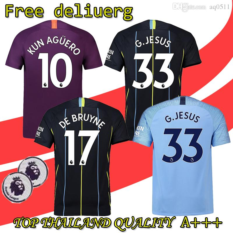 2019 2018 2019 26 MAHREZ Soccer Jersey City 33 JESUS 17 DE BRUYNE 10 KUN  AGUERO 7 STERLING 19 SANE Men Women Kits Shirt From Aq0511 675d678390