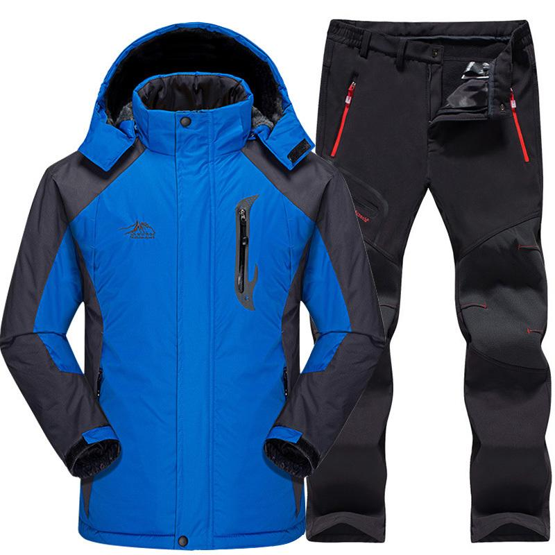Hiking Jackets Pants Male Mountain Skiing And Snowboarding Winter Snow Clothes Set Symbol Of The Brand Ski Suit Men Waterproof Thermal Snowboard Fleece Jacket Hiking Clothings