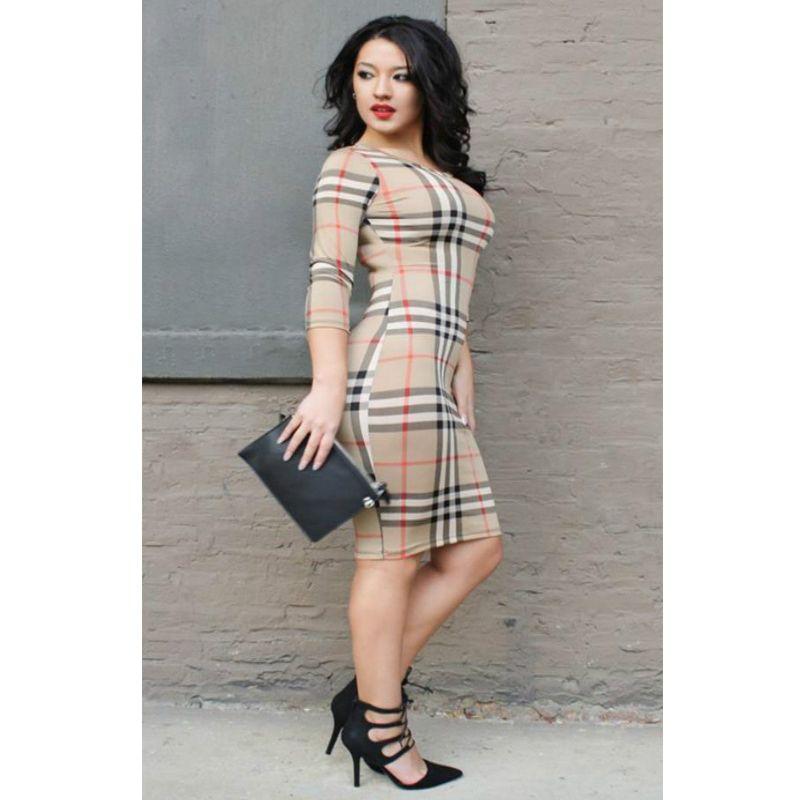 589ecc8a310a Designer Dresses 2019 Designer Womens Clothing Lady Brand Long Sleeve Dress  O Neck Three Quarter Sleeve Plaid Party Work Business Skirt *07 Black And  Red ...