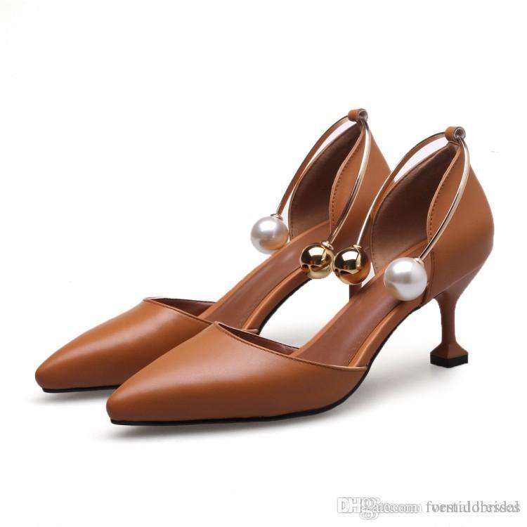compre zapatos de mujer de lujo para la novia 2018 negro marfil