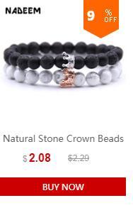 2 Unids / set Micro Pave CZ Corona Charm Bracelets Set Para Mujer Hombre Lava Howlite Piedra Beadc Pareja Pulsera Brazaletes Conjuntos Pulseira
