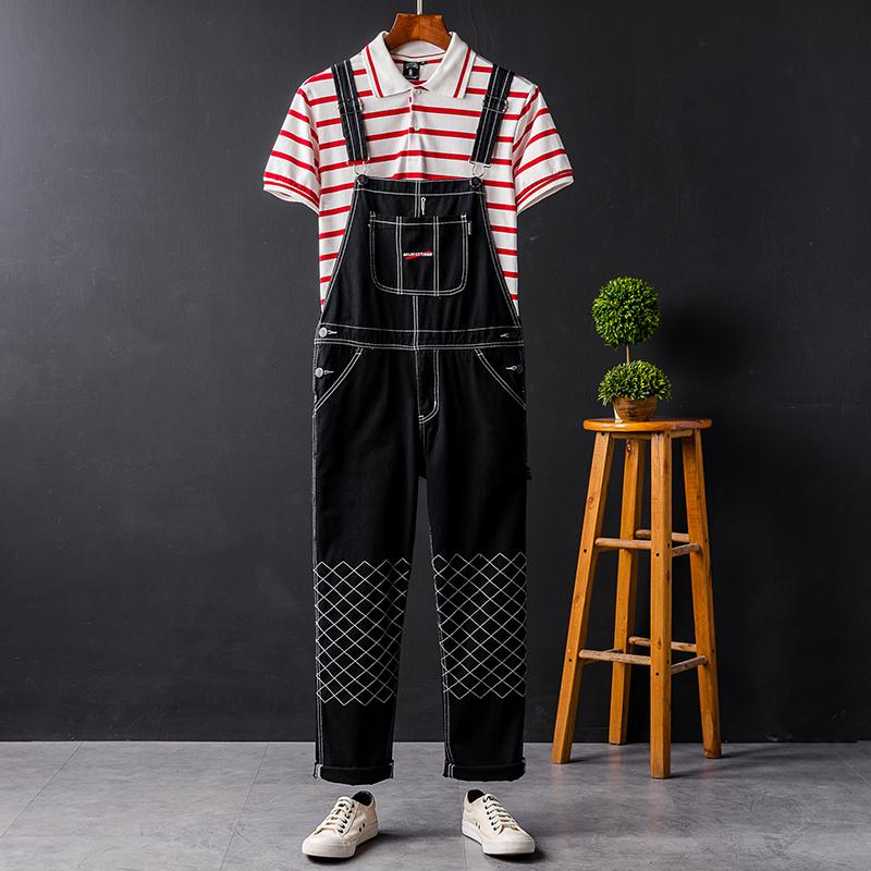 d5f74814500 2019 New 2019 Fashion Plaid Design Pocket Jeans Denim Overalls Men ...