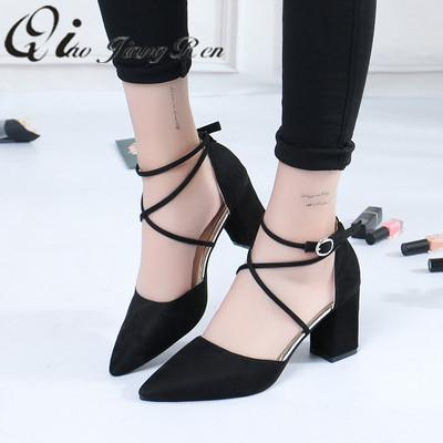 09cfe0fcce7 Shoes 2019 Sandalias Femeninas High Heels Autumn Flock Pointed Sandals Sexy High  Heels Female Summer Female Sandals Mujer Pink Shoes Munro Shoes From ...