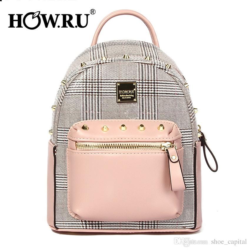 03a9daba597d8d HOWRU Cute Mini Backpack For Teenager Girls Plaid Leather Back Pack Kawaii Female  Small Daypacks Feminine Packbag Shoulder Bags  92336 Tactical Backpack ...