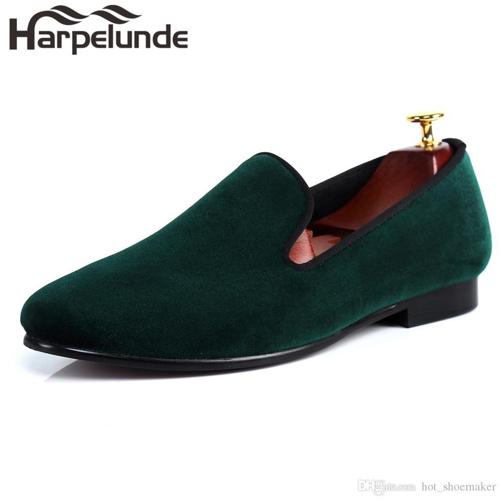 0185cec540f Compre Harpelunde Zapatos De Holgazán De Terciopelo Verde Para Hombres  Deslizarse En Pisos De Vestir Tamaño 6 14 # 36957 A $182.92 Del  Hot_shoemaker ...