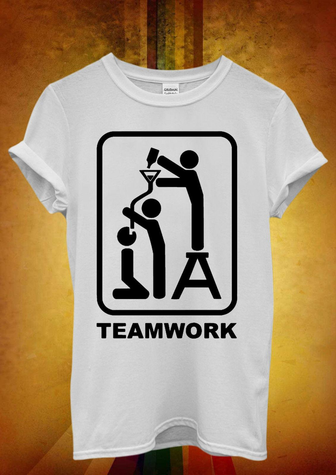 Team Work Beer Bong Funnel Pipe Men Women Unisex T Shirt Tank Top Vest 688 Funny free shipping Unisex Casual Tshirt top