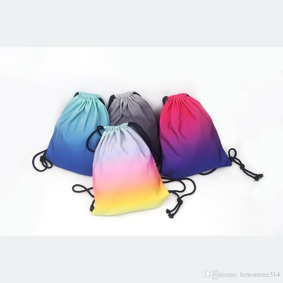 Gradient Drawstring Backpacks Sports Gym Bags Foldable Sack Pack ... d2089ecee83d1