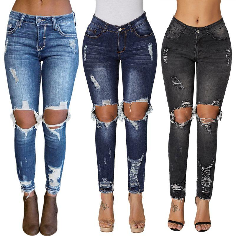 4b36a9b15c9e Women Plus Size Mid Waist Washed Skinny Jeans Solid Color Big Hollow ...