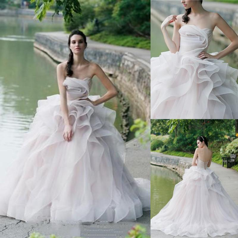 f0439bbe92 Mordern Ball Gown Wedding Dresses Cascading Ruffles 2019 Backless Strapless Bridal  Gowns Tulle Sweep Train Garden Wedding Dress Custom Made Wedding Gown ...