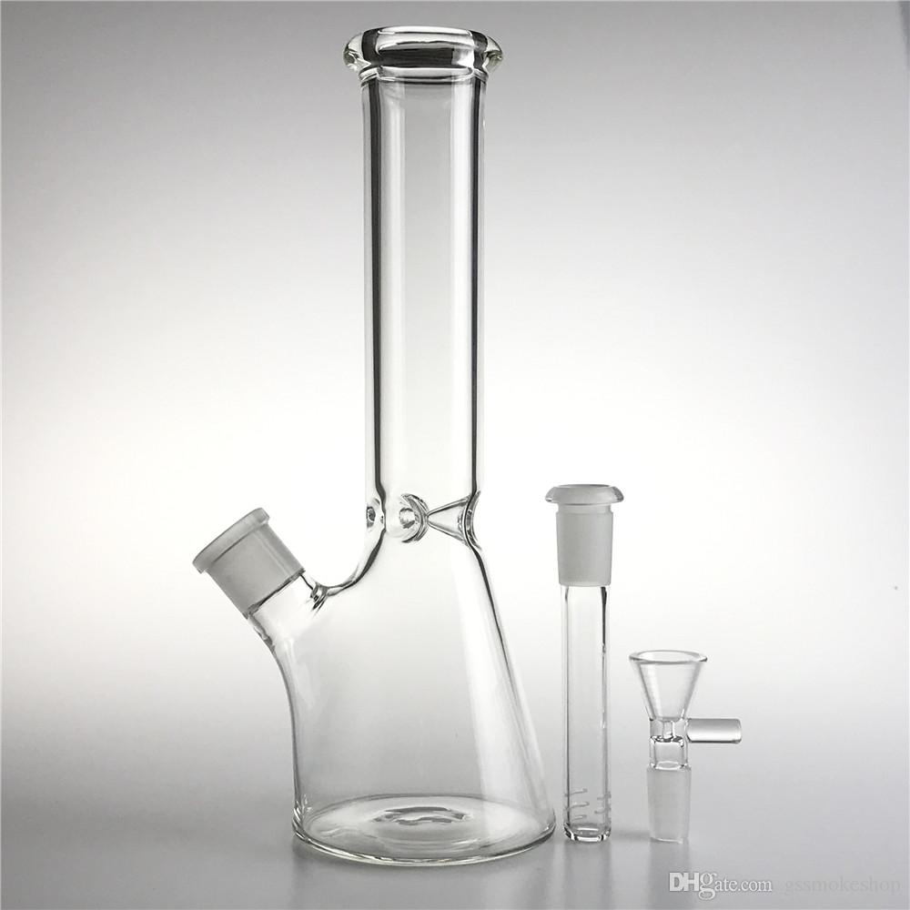 New 10 Inch Glass Bong Water Pipes with 14mm Bowl Downstem Thick Heady Glass Beaker Recycler Straight Bongs for Smoking