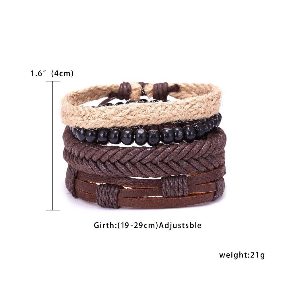RINHOO Vintage Leder Armbänder für Männer Böhmen Multilayer Perlen Wrap Punk Seil Schmuck Valentinstag Geschenk Armbänder Armreifen
