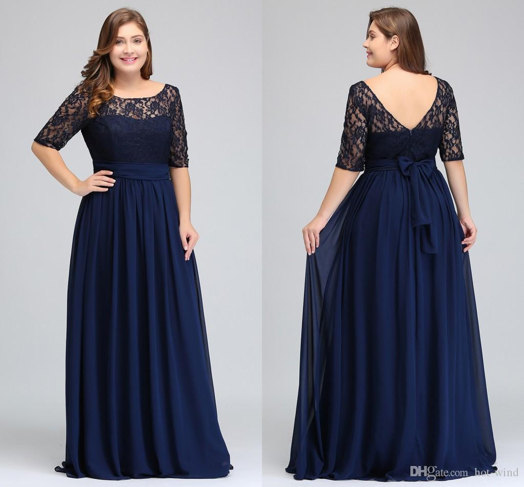 Navy Lace Chiffon Half Sleeves Plus Size Prom Dresses Lace Top A Line  Chiffon V Back Mother of Bride Dresses Cheap Gowns CPS522