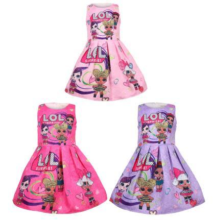 2019 enfants Surprise filles sans manches robe de princesse Cartoon One-piece Dress Jacquard avec coton Boutique enfants Jupes Vêtements de soirée C445