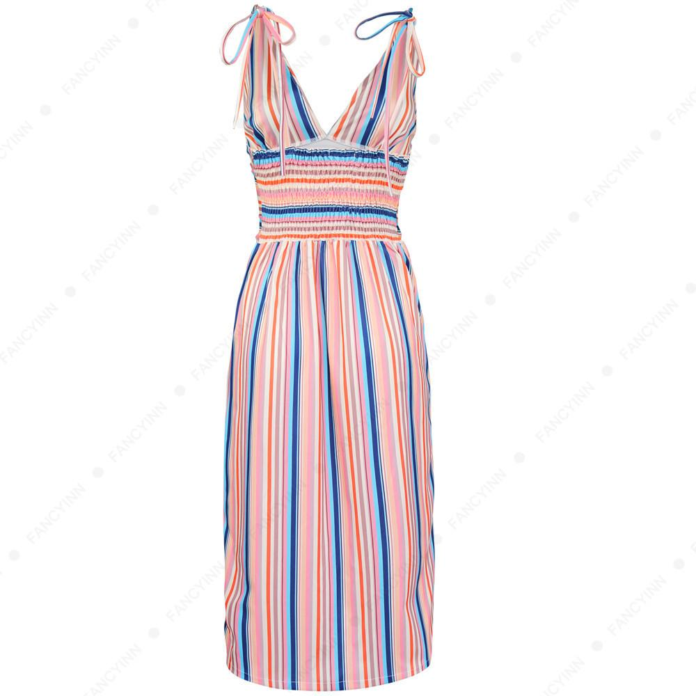 c5a03dcf842 2019 New Summer Women Dresses Classic Striped Shoulder Strap Sleeveless Deep  V Neck Womens Sexy Dress Split Beach Skirts Womans Clothes White Cocktail  Party ...