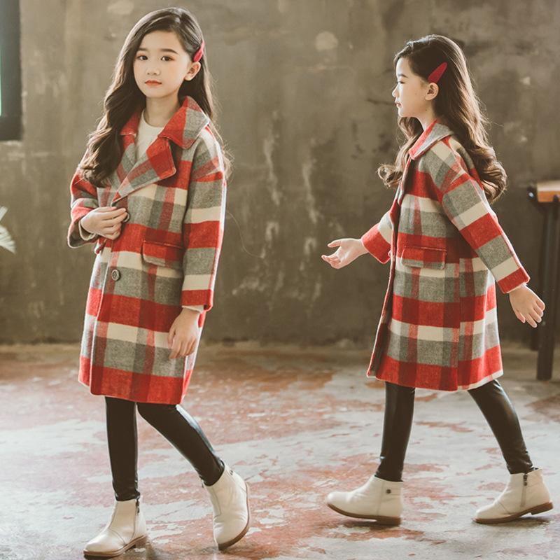 2039a4e3ffbc 2019 Children Wool Coats For Girls Thicken Warmer Overcoat Plaid ...