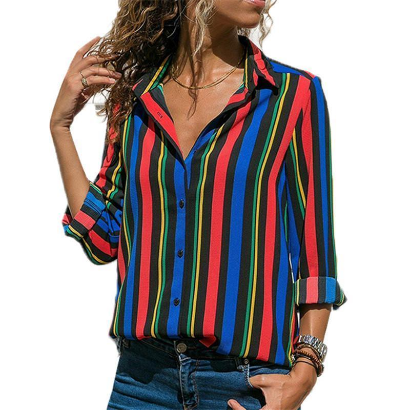 fcbf6865a0aa73 Women Shirts Blouses Casual Striped Long Sleeve Shirts Women Fashion Turn  Down Collar Blouse Loose Button Shirt Camisas Mujer Online with  $38.04/Piece on ...