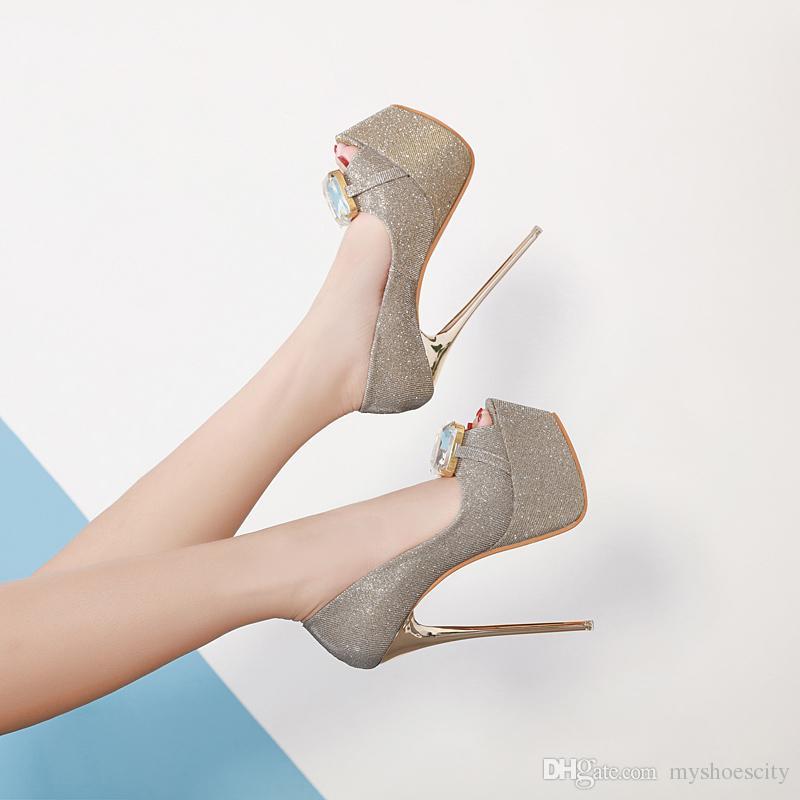 16cm luxury black blue big gem peep toe platform high heels gold wedding shoes women prom shoes size 34 to 40