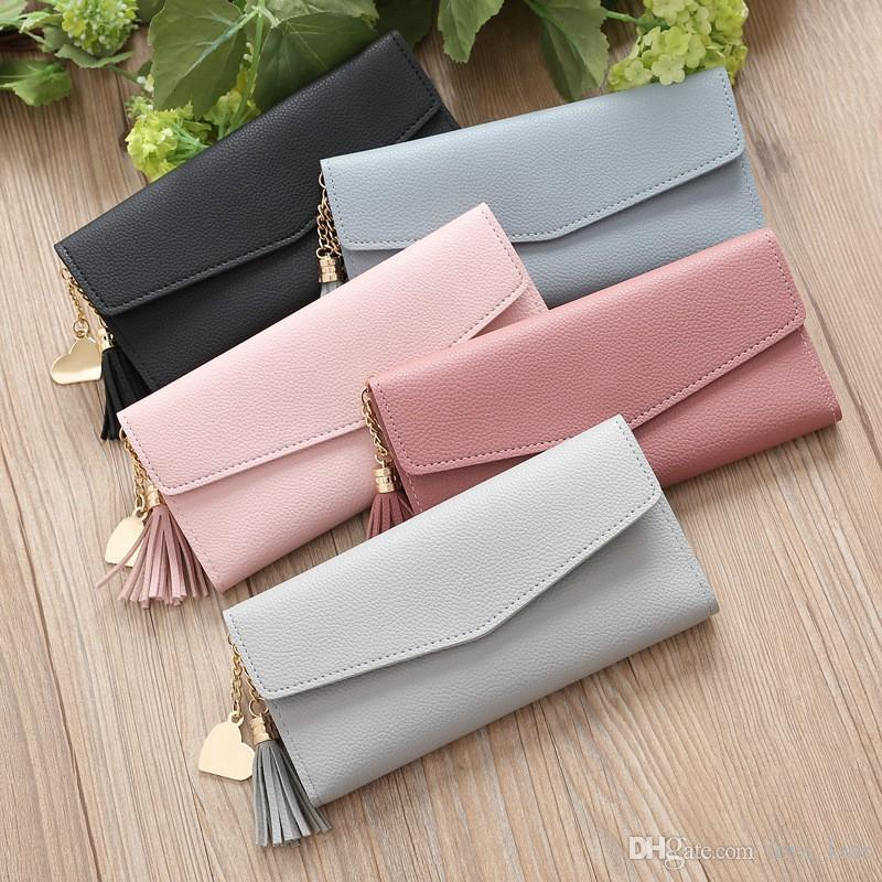 2019 New design long tassel purse fashion heart shape pendant handbag brief stylish multifunction ladies coin bags