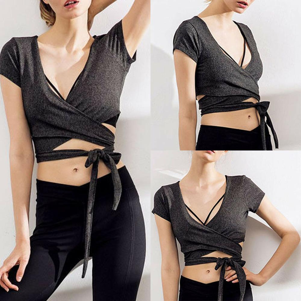 Summer Women Bare Midriff V- Neck Bandage Tank Top Fitness Blouse Sport Clothes New