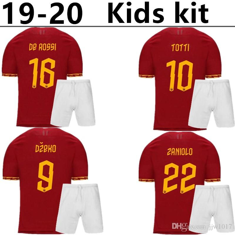 6f95f9550 2019 2019 2020 AS Roma Home Soccer Jerseys Kids Kit 18/19/20 DZEKO ...