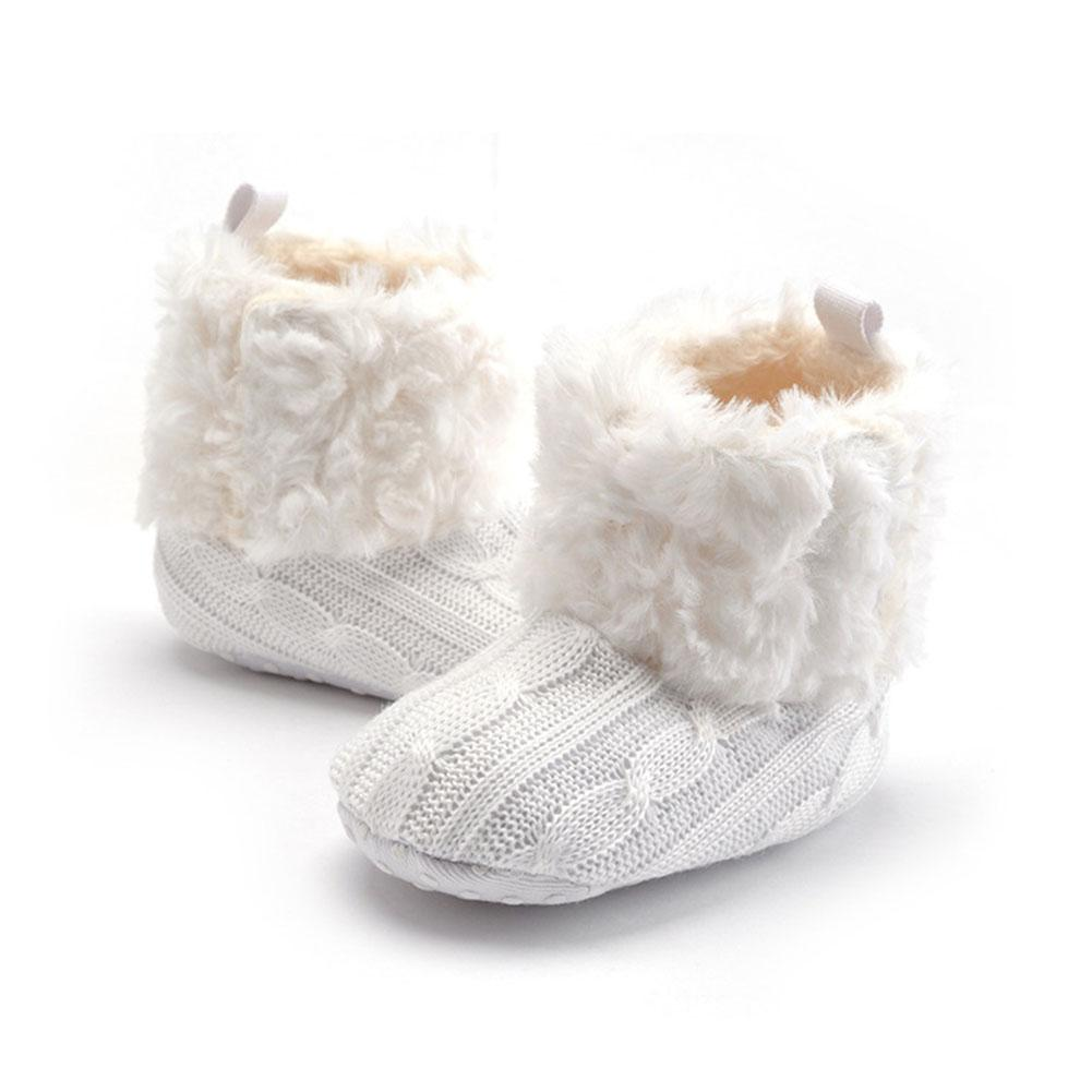 Baby Infant Crochet Knit Fleece Boots Toddler Girls Wool Snow Crib Shoes Booties