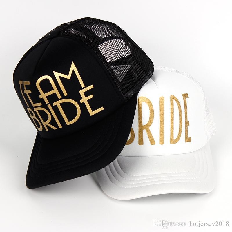 8e4d761cc1c84 2019 TEAM BRIDE SQUAD Woman Snapback Caps Hip Hop Gold Print Branded Baseball  Mesh Cap Wedding Party Man Adjustable Golden Letter  319686 From  Hotjersey2018 ...