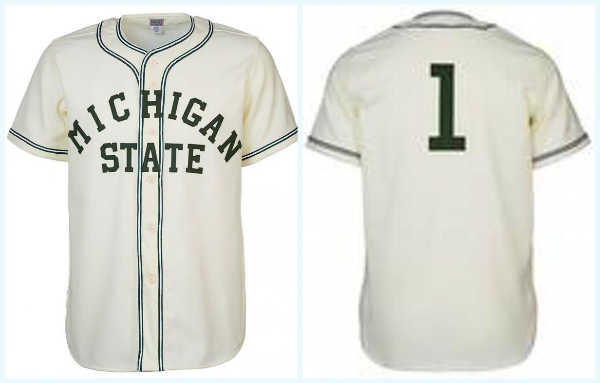 Michigan State 1940 Home Jersey Any Player or Number Stitch Sewn All Stitched High Quality Free Shipping Baseball Jerseys